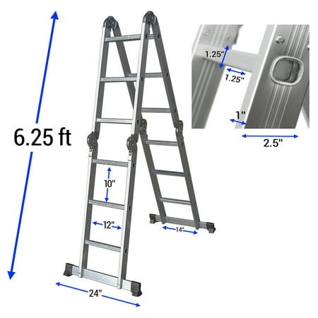 OxGord Heavy Duty Aluminum Folding Scaffold Work Ladder 12.5 ft Multi-Fold Step Light Weight Multi-Purpose extension - 330 LB (Werner Ac30 2 Extension Ladder Replacement Rope)