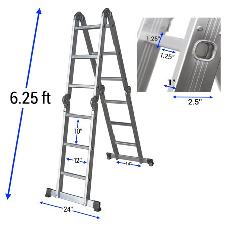 Ladder Fiber - OxGord Heavy Duty Aluminum Folding Scaffold Work Ladder 12.5 ft Multi-Fold Step Light Weight Multi-Purpose extension - 330 LB Capacity