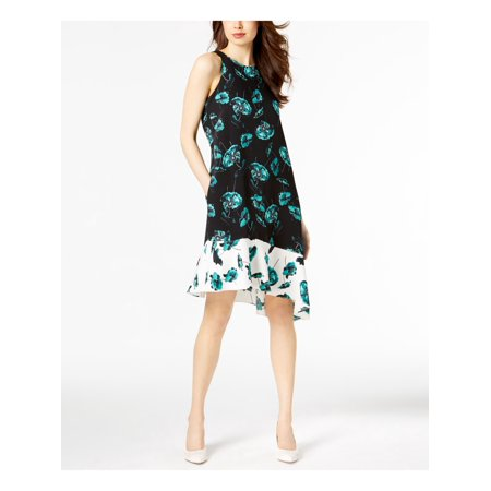 ALFANI Womens Black Asymmetrical Printed Sleeveless Jewel Neck Below The Knee Dress Size: 8