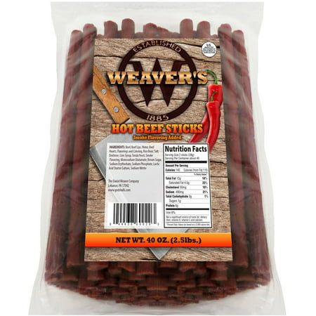 Weavers Hot Beef Sticks 80 Hot and Spicy 6.5 Inch Beef Sticks per 40oz Bag