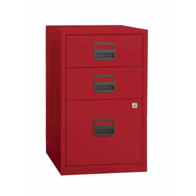 Bisley Three Drawer Steel Home Filing Cabinet, Red BDSFILE3RD by Bindertek