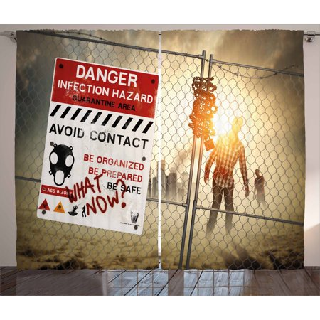 Zombie Decor Curtains 2 Panels Set, Dead Man Walking Dark Danger Scary Scene Fiction Halloween Infection Picture, Window Drapes for Living Room Bedroom, 108W X 84L Inches, Multicolor, by Ambesonne