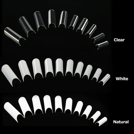 500Pcs/Pack Natural Color False Nail Art Tips C-shape French Nail Tips Acrylic C Curve False Nail Mold Tools 10 Sizes Fake Nails Tips](Fake Halloween Nails For Sale)