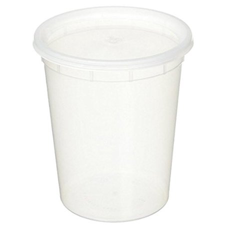 (Case of 96) Plastic Soup/Food Container with Lids, 32