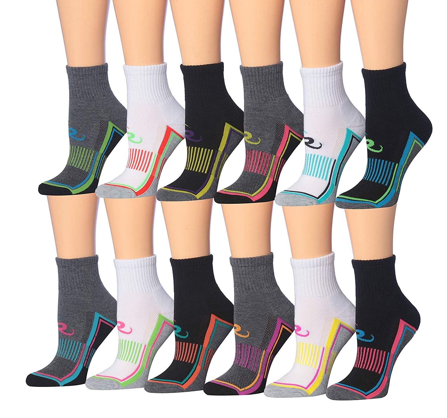 Champion Performance Liner Socks Womens Size Med 4-Pairs Choose Color Combo New