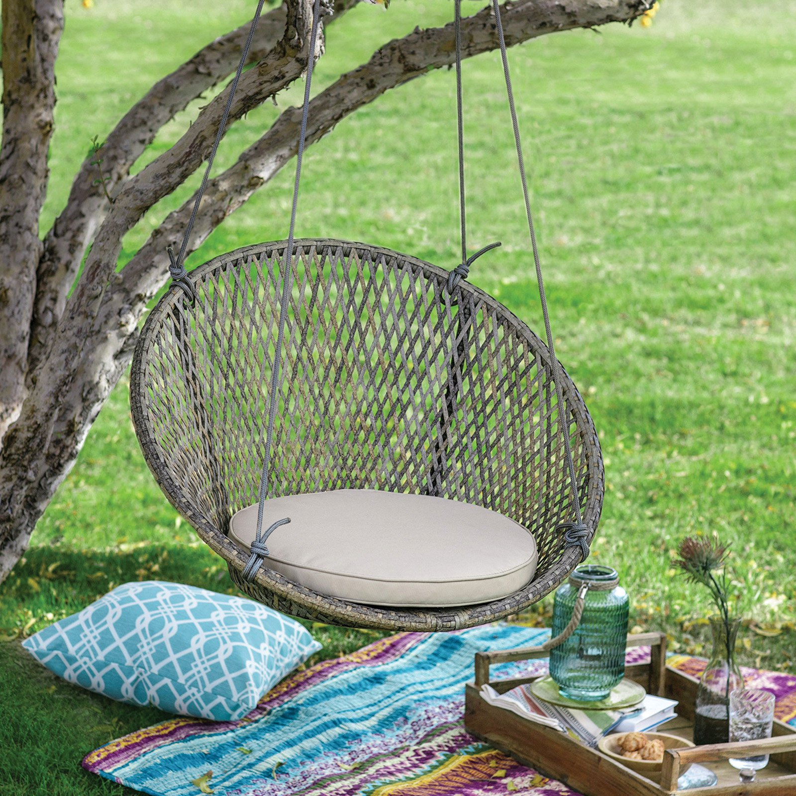 Belham Living Saria Resin Wicker Single Hanging Swing Chair with Seat Pad