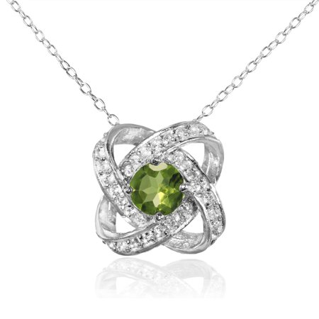 Peridot and White Topaz Sterling Silver Love Knot Necklace