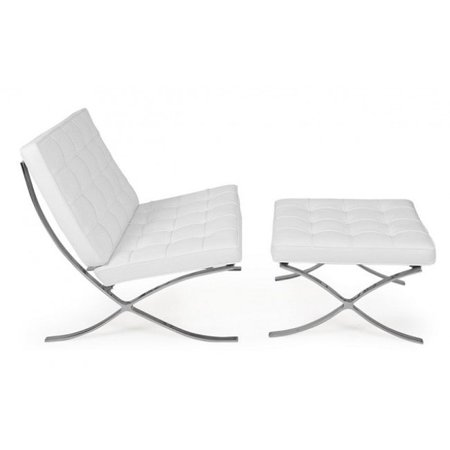 Super Modern White Barcelona Chair With Ottoman Rohe Style White Caraccident5 Cool Chair Designs And Ideas Caraccident5Info