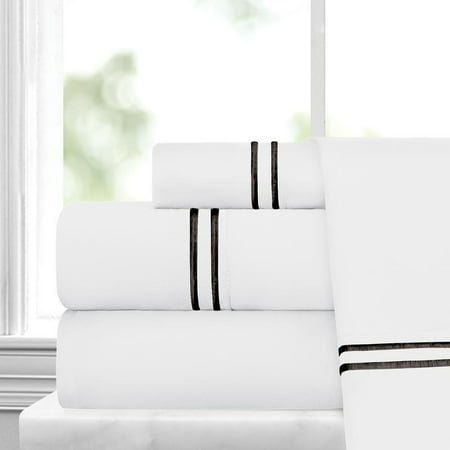 Noble Linen's 4 Piece Sheet Set with Stripe Embroidery