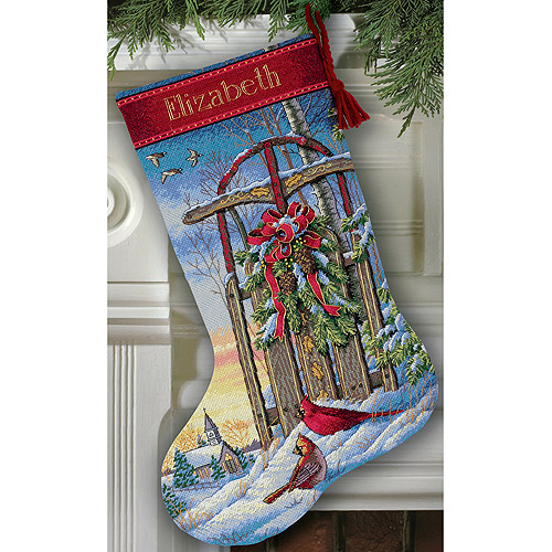 "Dimensions Gold Collection ""Christmas Sled Stocking"" Counted Cross Stitch Kit, 16"" Long"