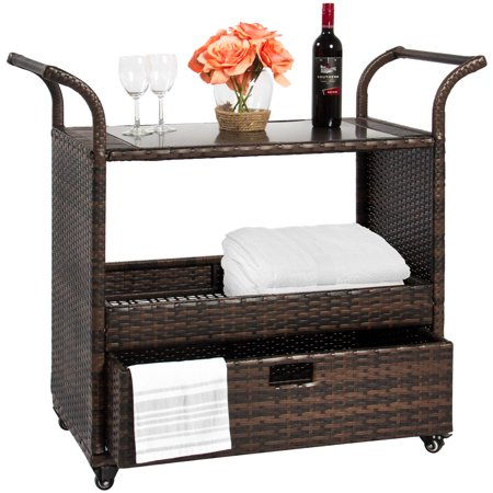 Best Choice Products Outdoor Patio Wicker Serving Bar Cart with Locking Wheels, Glass Table Top, and Pullout Drawer,