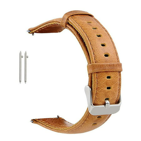 - Mignova Genuine Leather Watch Band Strap Metal Butterfly Clasp 18mm 22mm 23mm(18mm-Brown)