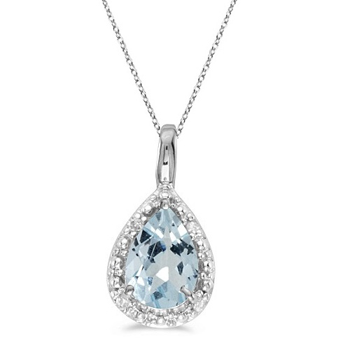 Pear Shaped Aquamarine Pendant Necklace 14k White Gold (0.60ct) by