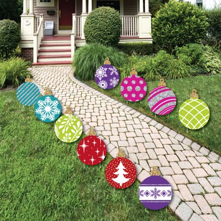 Colorful Ornaments Lawn Decorations - Outdoor Holiday and Christmas Yard Decorations - 10 Piece - Walmart.com