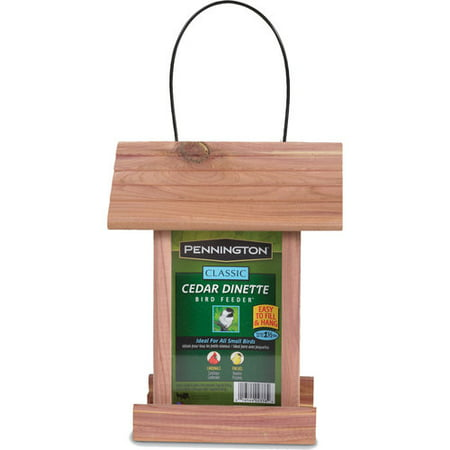 Pennington Classic Cedar Dinette Wild Bird Feeder, 1.25 lbs Seed (Sunflower Edible Bird Feeder)