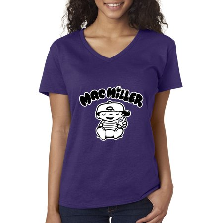 New Way 961 - Women's V-Neck T-Shirt Mac Miller RIP Rapper Hip-Hop XS Purple](Rapper Hair)