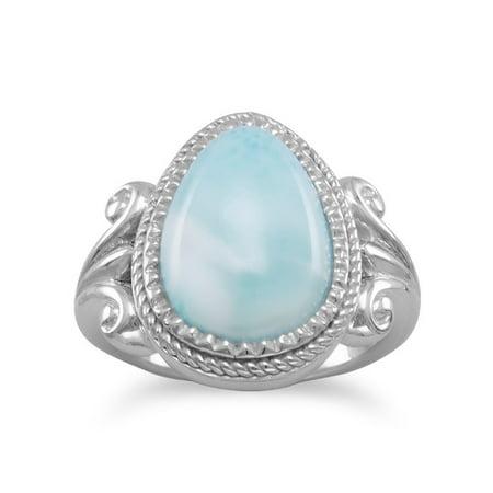 Larimar Ring Blue Atlantis Stone Pear Shape Sterling Silver