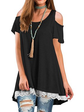 22da060c4541be Product Image DYMADE Women s Short Sleeve Cold Shoulder Tops Lace Scoop Neck  Flowy Solid Tunic Blouse