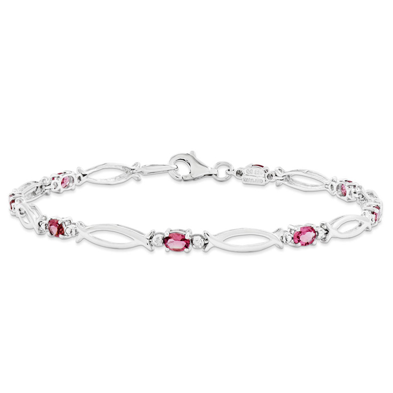 Sterling Silver Pink Tourmaline and Diamond Bracelet by Kevin Jewelers