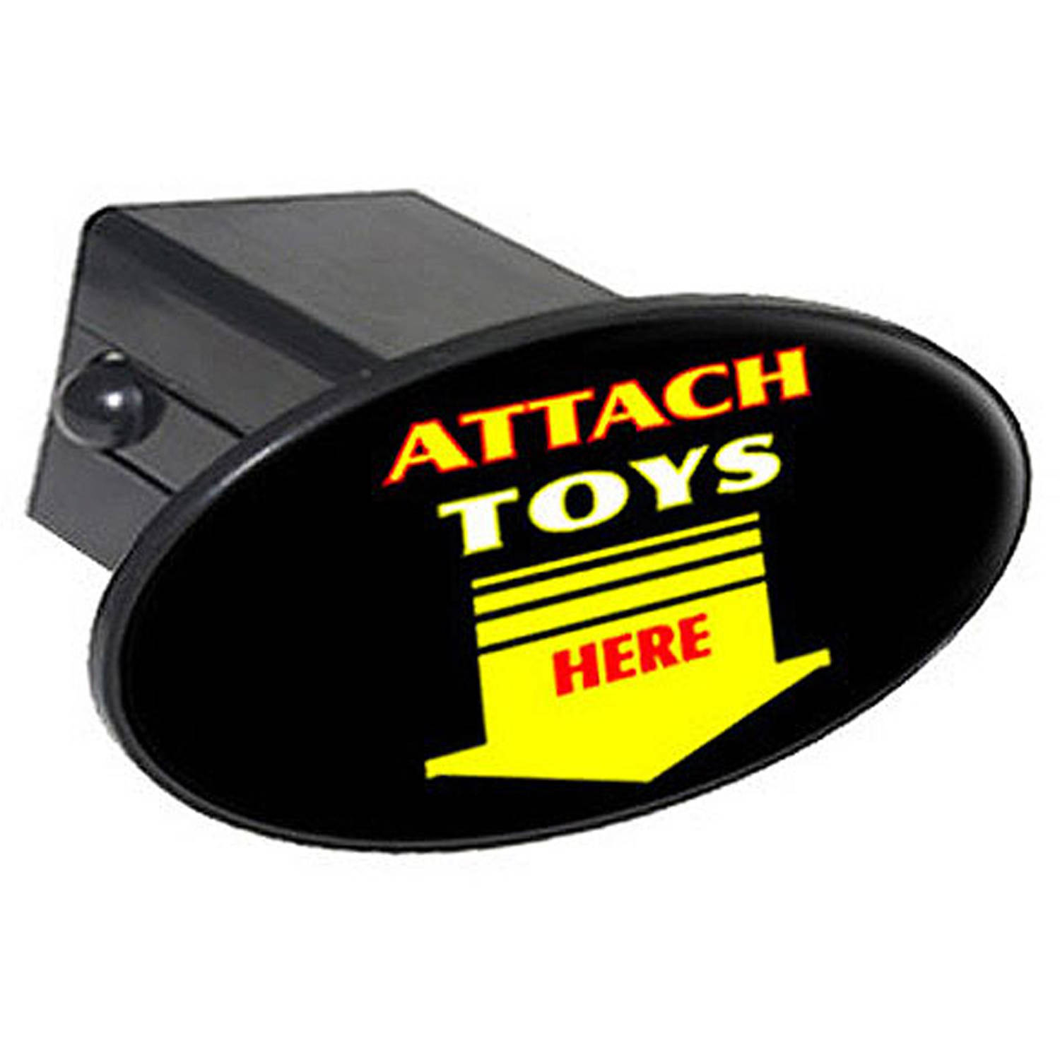 """Attach Toys Here, Arrow 2"""" Oval Tow Trailer Hitch Cover Plug Insert"""