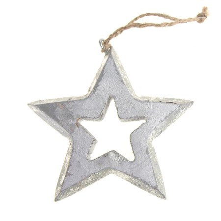 Hanging Wooden Distressed Star Cut-Out Christmas Ornament, Silver, 4-Inch ()