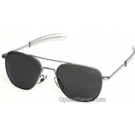 AO Original Pilot Sunglasses with 52mm Bayonet Temples and True Color Gray Glass Lenses