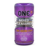 One Mixed Pleasures Variety Pack Assorted Lubricated Latex Condoms - 24 ct