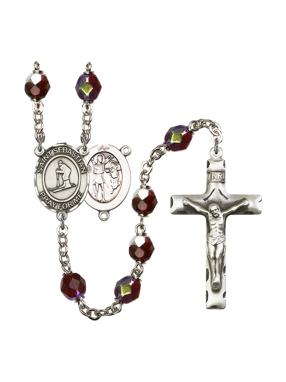 St. Sebastian Skiing Silver-Plated Rosary 7mm January Red Lock Link Aurora Borealis Beads Crucifix Size 1 3 4 x 1 medal... by