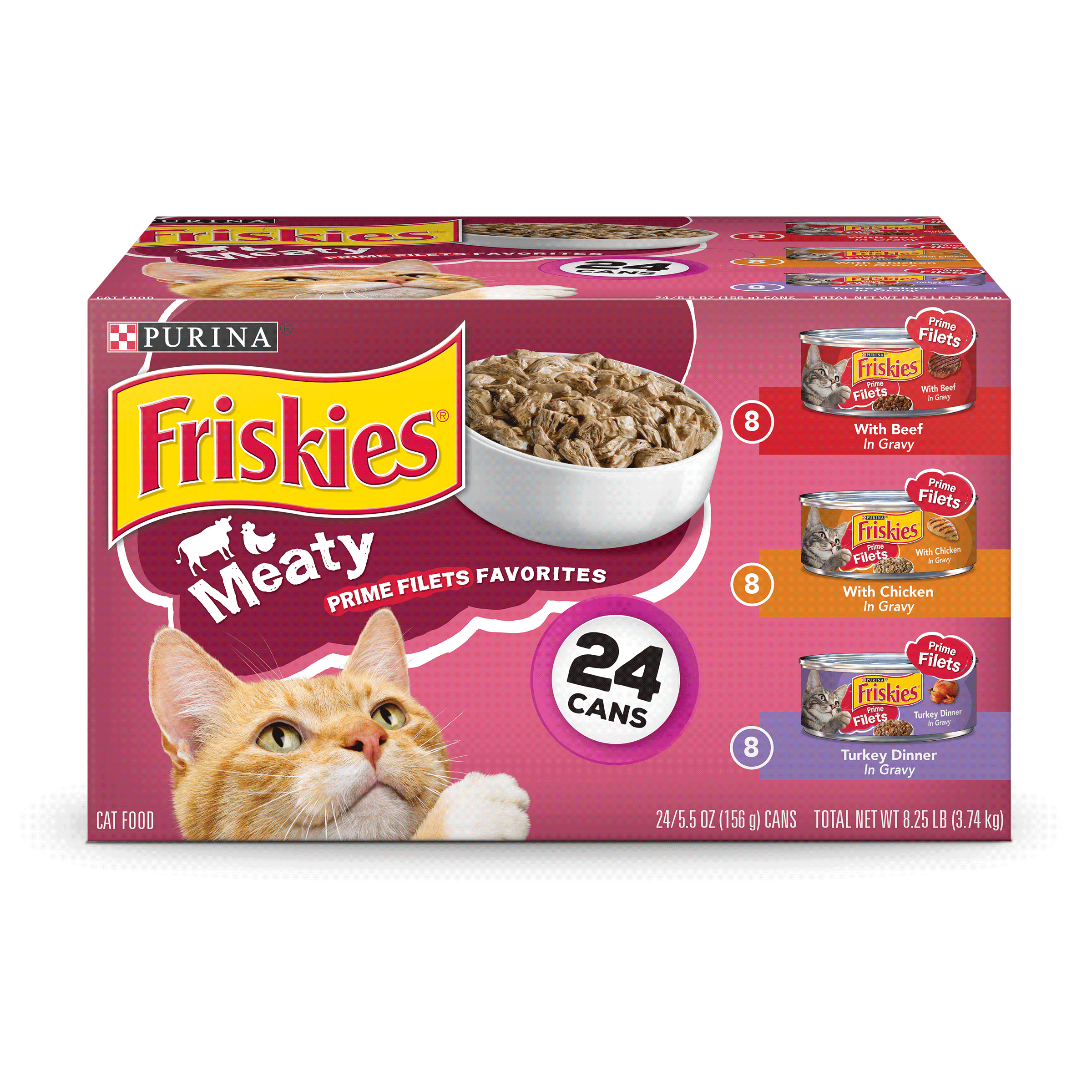 Friskies Prime Filets Meaty Favorites Adult Wet Cat Food Variety Pack (24) 5.5 oz. Cans by Nestle Purina Petcare Company
