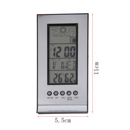 Indoor Outdoor Wireless Thermometer Weather Station Alarm Clock Calendar
