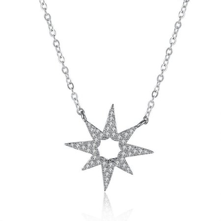 Sterling Silver White Swarovski Star Shaped Necklace