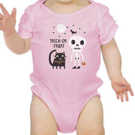 Skeleton Black Cat Baby Halloween Bodysuit Pink Gift For Baby Girl