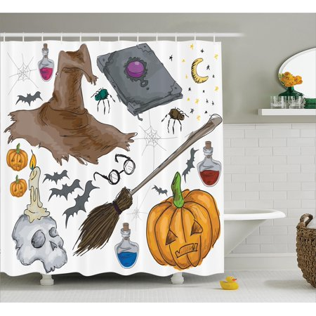 Halloween Decorations Shower Curtain, Magic Spells Witch Craft Objects Doodle Style Grunge Design Candle Skull, Fabric Bathroom Set with Hooks, 69W X 75L Inches Long, Multi, by Ambesonne