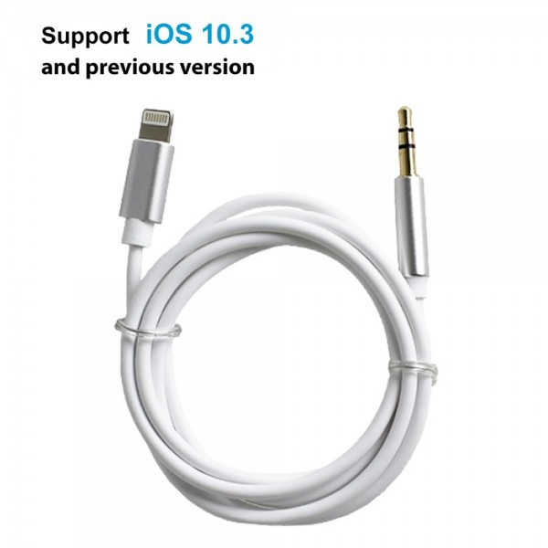 Lightning to 3.5mm Male Auxiliary Cord for Apple iPhone 7/7 Plus (White)