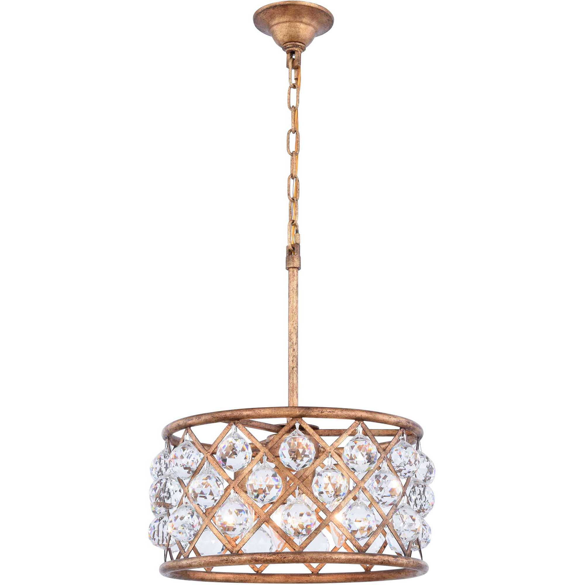 "Madison Collection Pendant Lamp D:16"" H:9"" Lt:4 Golden Iron Finish Royal Cut Crystal (Clear)"