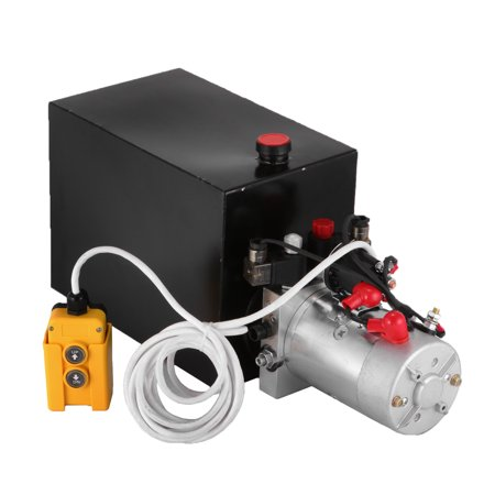 BestEquip 12V Hydraulic Pump 15 Quart Metal Reservoir Hydraulic Power Unit Double Acting Electric Dump Trailer Pump for Dump Trailers Hydraulic Jet Pump