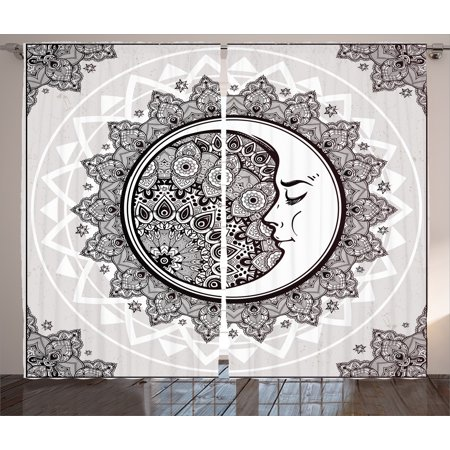 Mandala Curtains 2 Panels Set Ornate Crescent Moon With Stars And Asian Eastern Spiritual Graphic Living Room Bedroom Decor Beige White Black