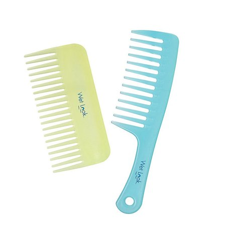 2 Hair Wide Tooth Combs Fine Plastic Shower Beach Detangling Wet Dry Style New (Comb Mm Fine)