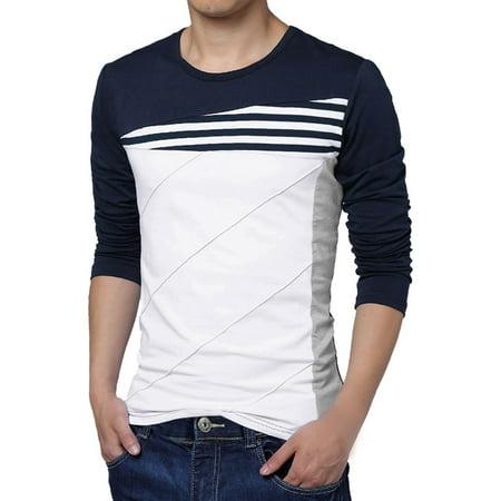 Men's Color Block Stripes Tee Shirt Blue (Size S / 34)](36c 24 34)