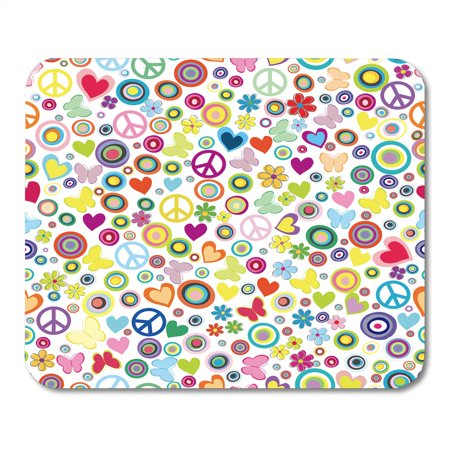 KDAGR Retro Flower Power Peace Signs Circles and Butterflies Abstract Butterfly Mousepad Mouse Pad Mouse Mat 9x10 inch