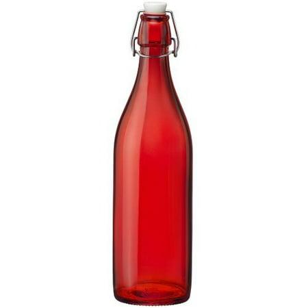 Bormioli Rocco Glass Pilsner Glass - Bormioli Rocco Giara Red Glass Swing Top Bottle