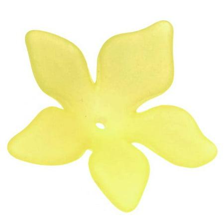 Lucite Plumeria Flower Beads Matte Lemon Yellow 26mm