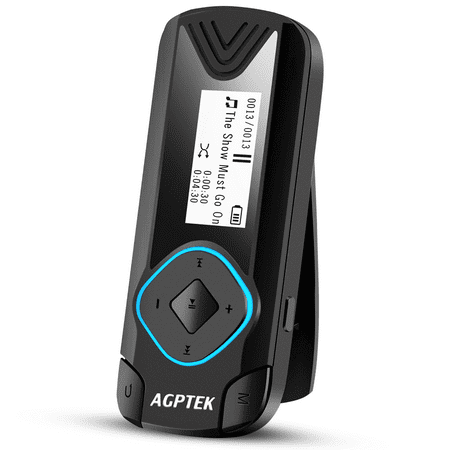 AGPTEK R3 8GB Clip MP3 Player Digital Music Player for Jogging Running Gym(Supports up to 128GB), Black ()