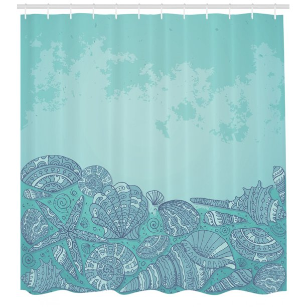 Nautical Shower Curtain Marine Beauty Shell With Seahorse Starfish Oysters Ocean Sea Tropical Image Fabric Bathroom Set With Hooks 69w X 70l Inches Turquoise Teal By Ambesonne Walmart Com Walmart Com