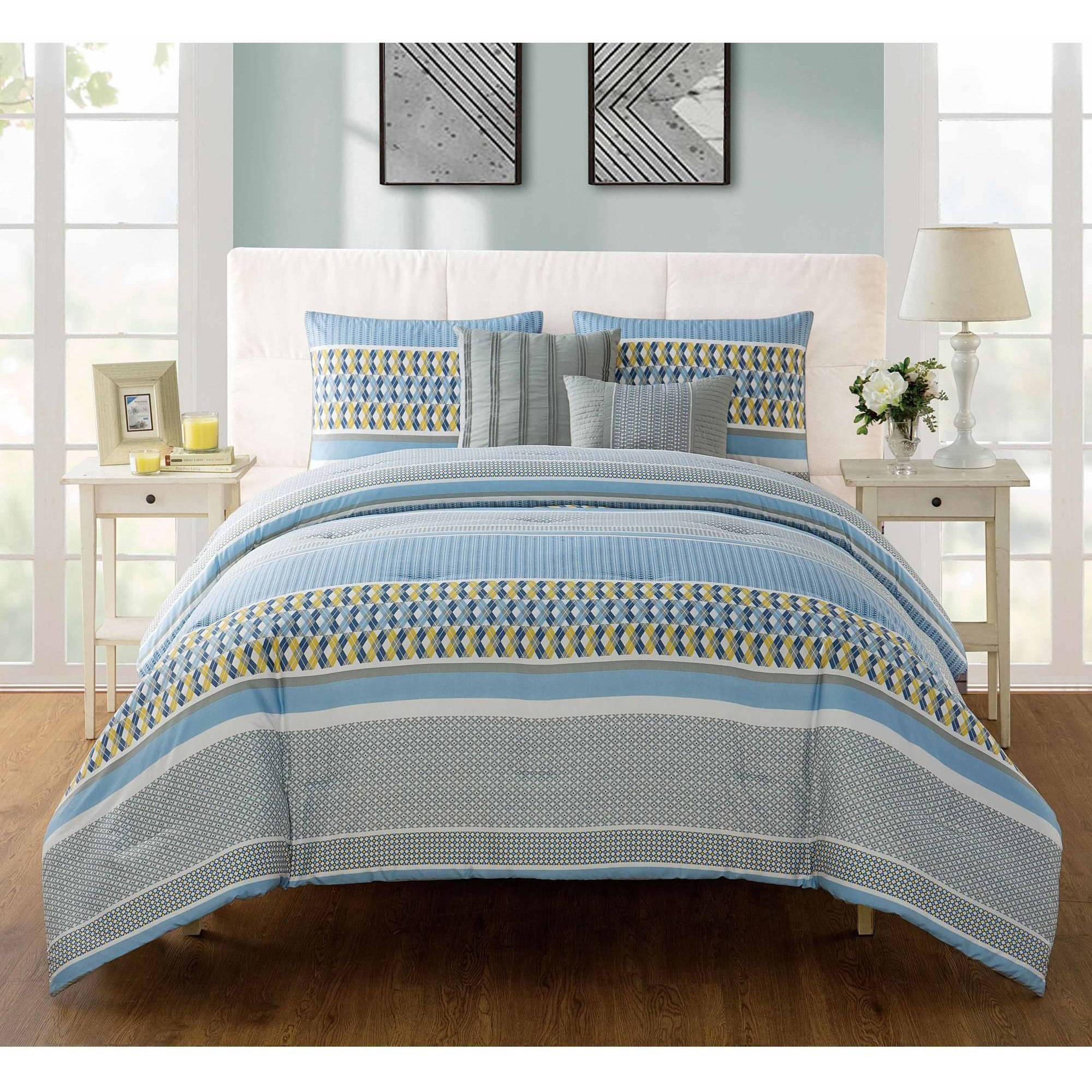 VCNY Home Marcus Geometric Bedding Comforter Set with Decorative Pillows, Multiple Colors and Sizes Available