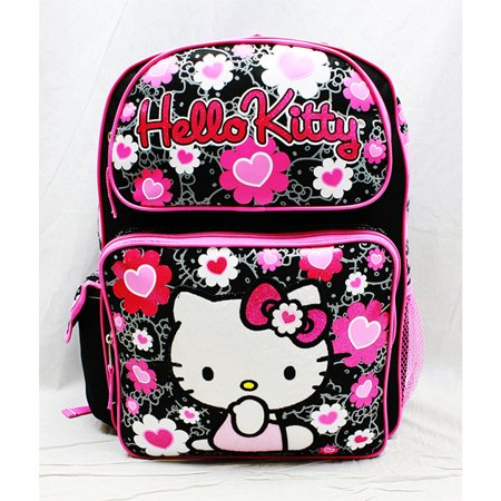 Backpack - - Black Flower Bow Large Girls School Bag New 84011