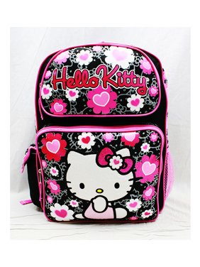 926dc79782 Product Image Backpack - - Black Flower Bow Large Girls School Bag New  84011. Hello Kitty
