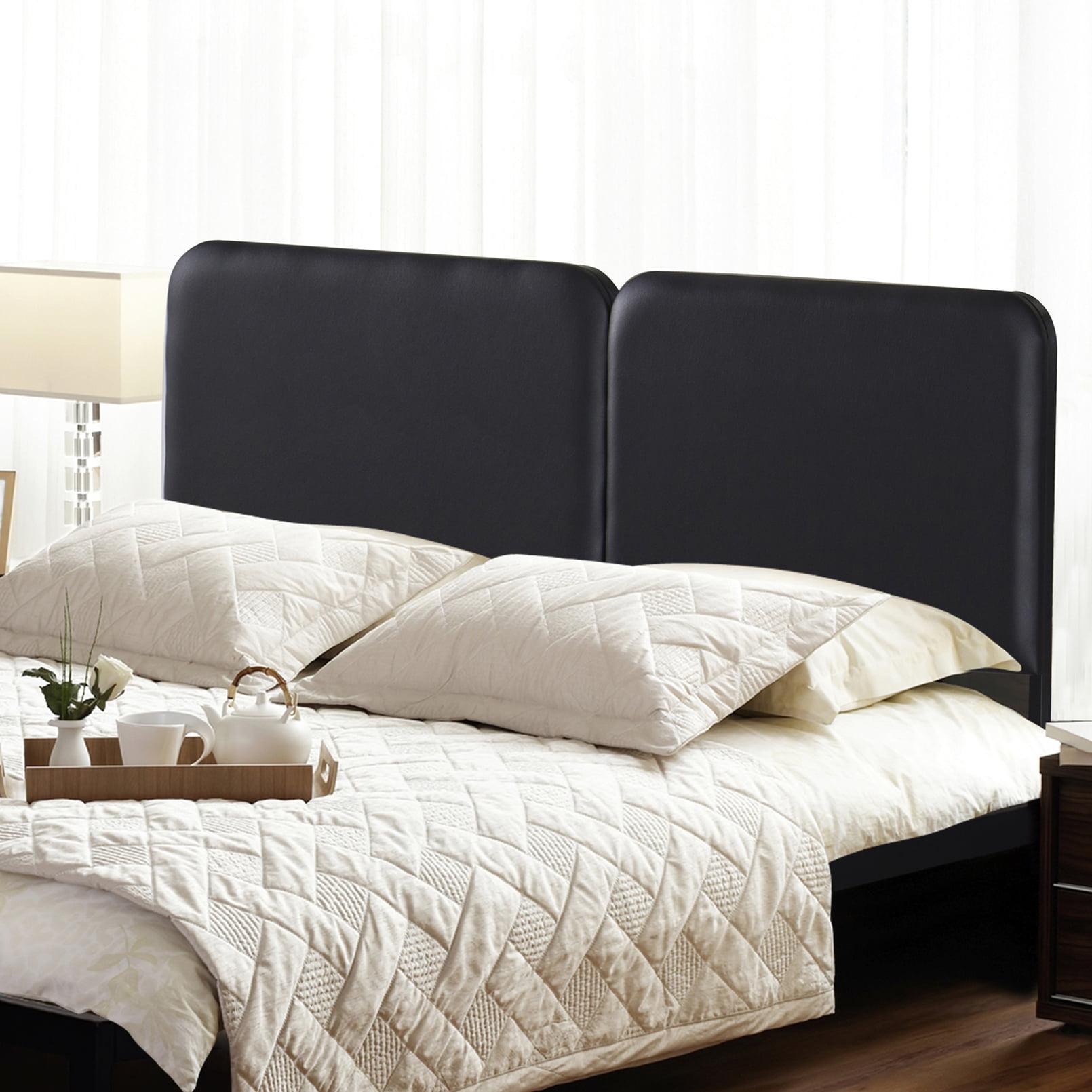 GranRest Upholstered Faux Leather Headboard Steel Simple Black, Full
