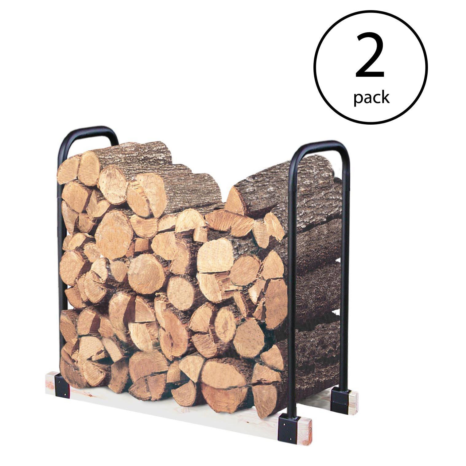 Landmann Adjustable 16 Foot Tubular Steel Firewood, Kindling & Log Rack (2 Pack)