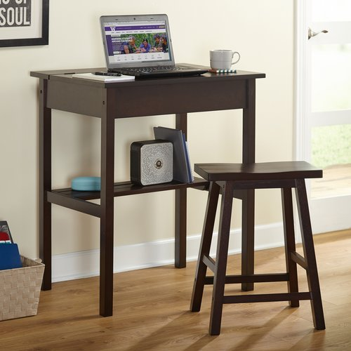 Lincoln Writing Desk and Saddle Stool Value Bundle, Espresso